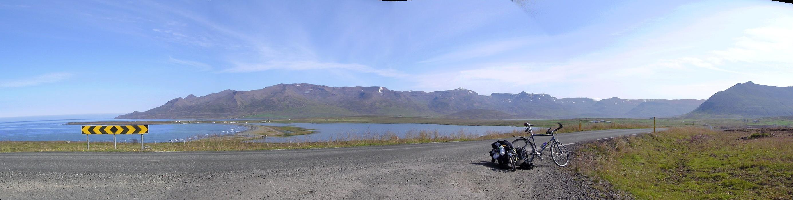 My bike on the northern coast of iceland near the crossroads to